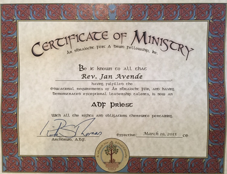 Certificate of Ministry