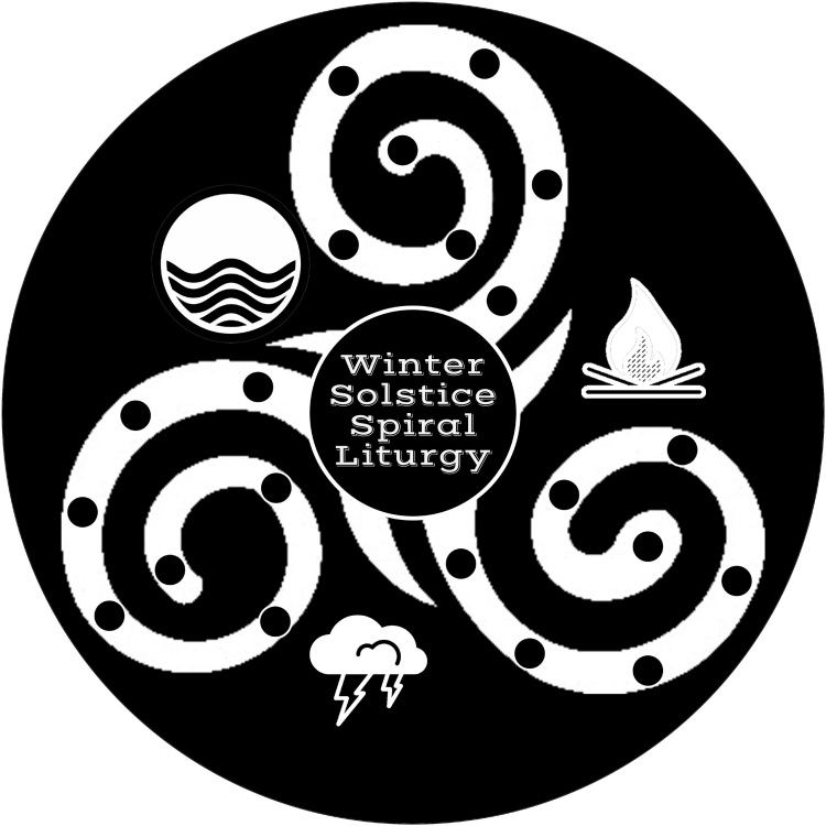 "a three armed spiral with the words ""Winter Solstice Spiral Liturgy"" at the center, with a line drawing of a storm cloud below the spiral, a fire to the right of the spiral, and waves to the left of the spiral. There are 7 dots on each arms of the spiral to mark where the candles go."